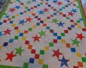 Irish Chain with Stars Quilt, Stars Quilt, Baby Brights Quilt  1230-02