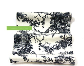 "Black Toile Table Runner 14"" x 108"" Cotton"