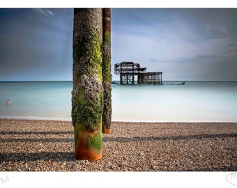 Brighton beach long exposure photography fine art photo print 12x8 limited edition coast water front pier