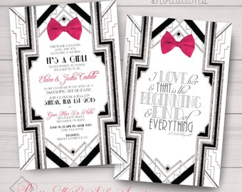 Baby Shower, Announcements, Party Invitations: Great Gatsby, Bow, Roaring 20's, Gold or Silver Samples/Printing/Digital Files Available