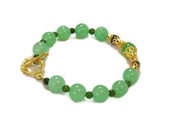 Aventurine and Jade Bracelet / Light Green Bracelet / Light and Dark Green Bracelet / Women's Bracelet / Girl's Bracelet