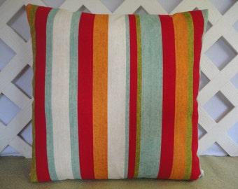 Striped Outdoor Pillow Cover Red Aqua Orange Green / Striped Pillow / Stripes Pillow/ Red Aqua Pillow / Patio Pillow / Accent Pillow