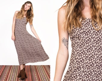 Vintage 90's Floral Grunge Strappy Maxi Dress
