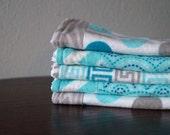 Baby Boy Washcloths - Polka Dot - Scallop - Greek Key - Teal, Gray, Blue - Boy Baby Gift