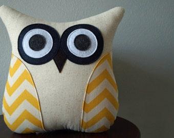 Decorative Owl Pillow - Yellow Pillow - Chevron Pillow - Yellow Chevron - Large or Small