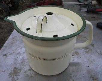 scarce nice shape antique vintage GRANITEWARE ENAMELWARE MILK warmer