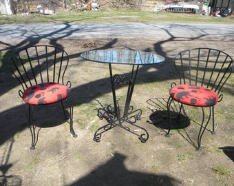 3 piece vintage 1960s 1970s iron and glass top outdoor mid century SALTERINI WOODARD PATIO set chair table   pick up only