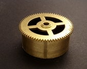 Large Brass Cylinder Gear, Mainspring Barrel from Vintage Clock Movement, Vintage Clockwork Mechanism Parts, Steampunk Art Supplies 03899