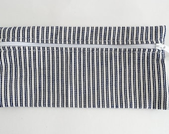Sunbrella Navy and White Striped Zippered Pouch, Cosmetic Bag, Pencil Case, Bridesmaid Gift, Zippered Catch All Bag, Make Up Pouch, Gift Bag