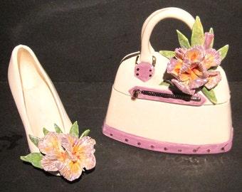 Ceramic Keepsake set of Trinket/Candy Purse and Shoe