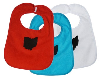 TerryCloth Bib with 'Ohio State' Design (Red, Teal Blue, White, Yellow)