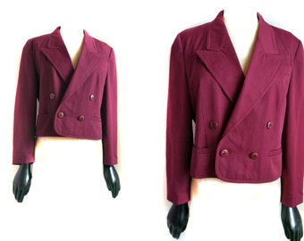 Vintage Blazer Cropped Betty Barclay 80s 90s wine red Light Blazer