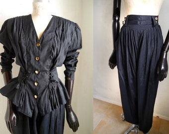 Vintage 80s blouse and pant Suit/ 2 piece black costume High waisted Harem Pants/ Jumpsuit/ 80s 90s power suit/ French/ Size SMALL