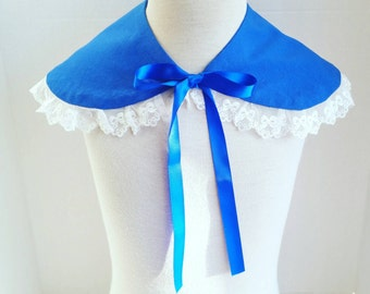 Royal Blue and white Peter Pan detachable collar