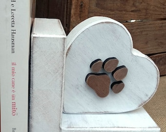 Bookend Heart with paw