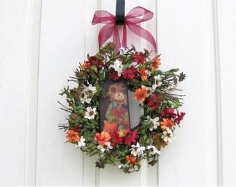 Fall Wreath - Mini Wreath - Window Wreath - Fall Floral Wreath - Fall Condo Door Wreath - Fall Wreaths - Scarecrow Wreath - Thanksgiving