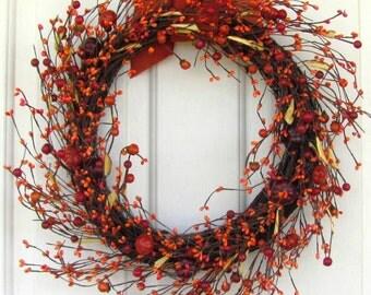 STORM DOOR Wreath - Fall Wreath - Pumpkin Orange Pip Berry Wreaths - Autumn Berry Wreath - Fall Wreaths - Pip Berry Wreath - Halloween
