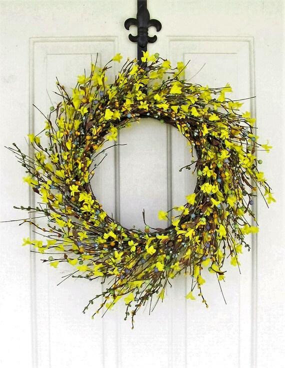 Forsythia wreath yellow - Last One Ready To Ship Summer Wreath Storm By Designawreath