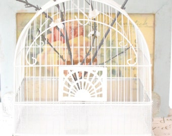 Vintage Birdcage White Metal - Shabby Cottage White Birdcage - Crown Wire Birdcage (SALE - WAS 85.00)