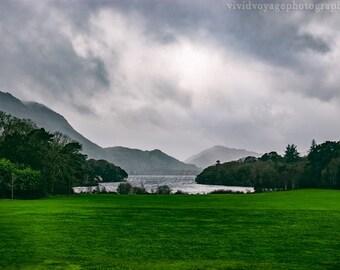 Ireland Landscape, Lake Photograph, Stormy Sky Photo, Green Decor, Dramatic Landscape, Nature Decor, Landscape Art, Hills Of Ireland