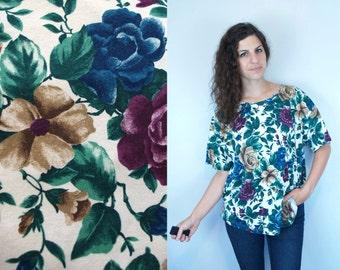 1990s Vintage Oversized Floral Flower Print Pattern TShirt T Shirt Top Blouse / Purple Blue Green & Tan Flowers on White / Large L XL OSFM