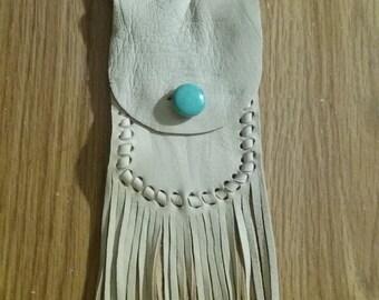 Medicine Bag - Neck Bag with Fringe - Leather Crystal Bag - Tribal Bag - Herkimer Diamond - Hand Made by Elusive Wolf -