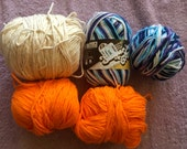 "Cotton yarn by ""Sugar and Cream"" in Moon dance, orange, white and ecru"
