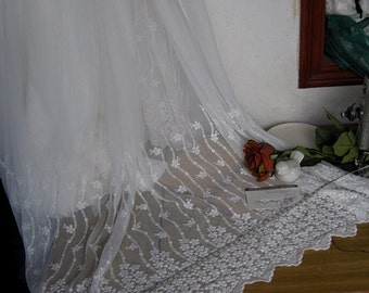 0.91x1.3meter wide ivory fabric cloth mesh 2 sides embroidered lace trim ribbon bj786i free ship