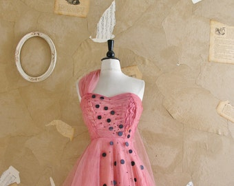 Vintage 1950s Pink and Black Tool Party Dress -Drama Queen-