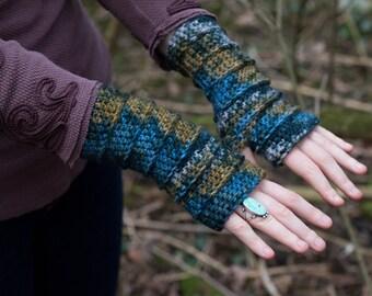 Blue Desert Fingerless Crochet Gloves