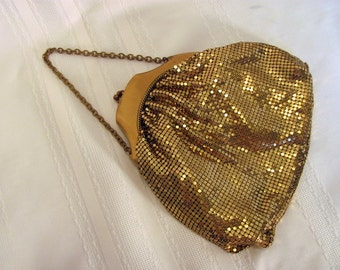 Gold Mesh Whiting and Davis Evening Purse with Chain