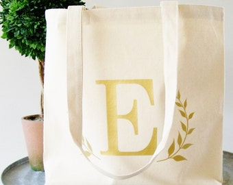 Monogram Tote Bag, customized tote bag, laural wreath tote bag, bridesmaid gift, birthday gift, sorority gifts canvas tote bag beach bag