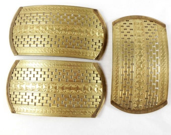 Vintage Brass Cuff Top, Wide Bracelet Base, Capped Ends, Jewelry Supplies, Patina Brass, B'sue Boutiques, 2 x 3.75 inches, Item07205