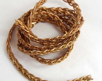 Vintage Jewelry Chain, B'sue Boutiques, Braided Chain, Copper Finish, Dark Patina, 7mm Wide, 3 Continuous Feet , Item07531