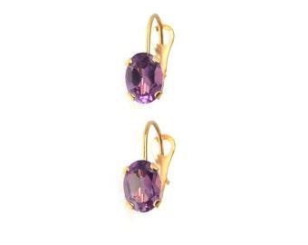 Oval Amethyst 14k Gold Lever-back Earrings