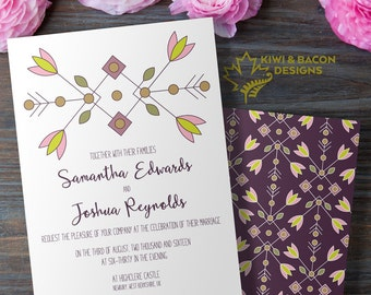 Wedding Invitation Card - Nordic Flowers -- Bridal Shower, Baby Shower, Party Invite