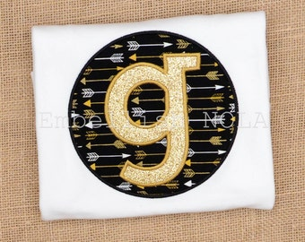 Black and Gold Arrow Glitter Initial Applique Shirt or Bodysuit Saints Inspired