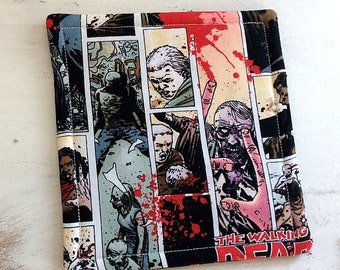 Coasters Set of 4 WALKING DEAD Reversible Black Red Gray Zombie Motif  Hostess Gift Party Favor Home Decor Teacher Gift DEAD Yourself!