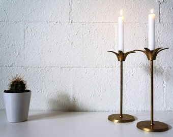 Vintage Brass Candle Holders, Taper Holders, Set of 2