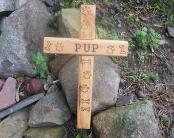 Wooden Cross - Dog or Cat Pet Memorial Burial Cross - Personalized w/ optional Paws, dog bones, & years