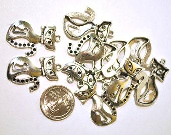 Metal Cat Charms - 10  Piece