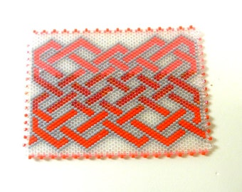 Beaded ACEO Magnet Mat - Celtic Red Ombre- Glass Delica Seed Beads -- OOAK 1358