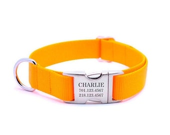 WINTER SALE 15% off Laser Engraved Personalized Buckle Webbing Dog Collar - MANGO
