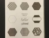 Stampin' Up!  SIX SIDED SAMPLER Retired Stamp Set Wood Mounted