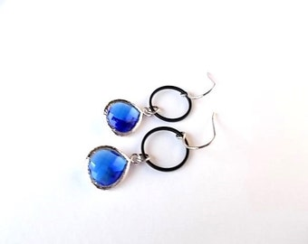 Cobalt Blue Earrings, Mixed Metal Jewelry, Gift for Her, Black Dangle Earrings