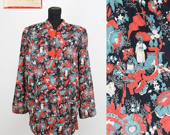 1940s Jacket // Oriental Novelty Print Rayon Quilted Lounge Pajama Jacket