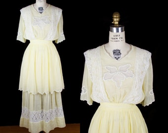 Edwardian Dress // Yellow Cotton Lace Trimmed Dress with Two Tier Skirt