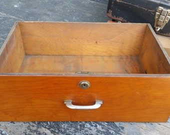 Old Wooden Drawer with handle and lock
