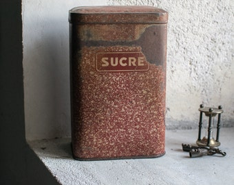Vintage French Tin // French Kitchen Storage // Graniteware Sugar Tin