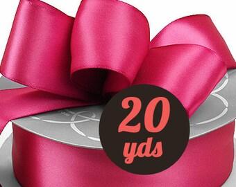 """Satin Azalea Pink Ribbon - 7/8"""" wide at 20 yards"""